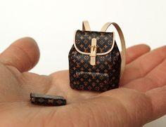 LV (No.6) Ooak Designer Backpack with Wallet Artisan handmade 1/12 Dollhouse Miniatures