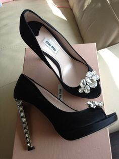 Miu Miu.  These are adorable. The jewels are the perfect touch to the classic black peep toe.   - Helen   #miumiu #shoes #fashion