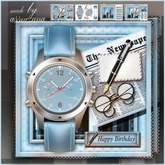 Blue Male Watch Card Mini Kit: 4 sheets for print with decoupage for 3D effect plus few sentiment tags (for your own personal text)