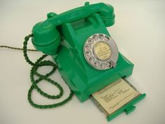 """Statement from previous pinner: """"Very Rare 1950's Green Bakelite Telephone."""" I agree with the rare part. But I would say that this is 1940s (and probably British)."""