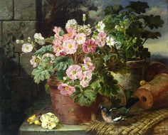 "art-and-things-of-beauty: "" John Wainwright century) - Still life with a primula in a pot and a chaffinch. Still Life Images, Nature Illustration, Flower Of Life, Beautiful Paintings, Love Art, Great Artists, Pots, Sculptures, Artwork"