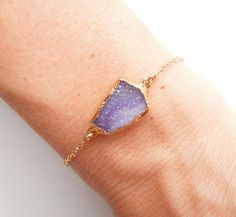Drusy Bracelet in Ombre Purple Druzy Jewelry OOAK by 443Jewelry
