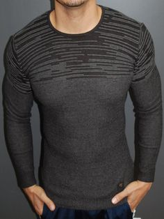 R&R Men Stylish Incom Stripes Crew Neck Sweater - Black