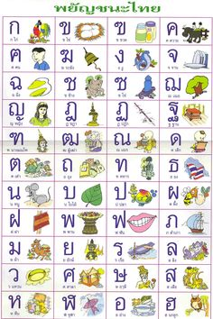 Sounds of the Thai Alphabet Much like any other language, the Thai Language is broken into Consonants, as those listed in the Thai Alphabet – and vowels. Consonants in Thai. Learning The Alphabet, Kids Learning, Learn Thai Language, Foreign Language, English Language, Thailand Language, Thai Alphabet, Thai Words, Das Abc