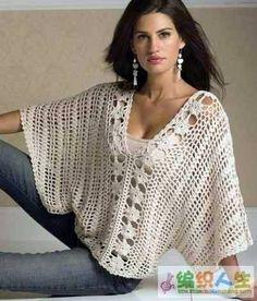 Eis a famosa blusa em tom bege com mangas morcego. Esta peça é muito comentada na internet e muitas amigas já me pediram o gráfico, ...