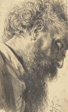 Adolph von Menzel (German, 1815-1905), Head of a bearded man, 1884. Pencil on paper, sheet: 17.5 x 10.5 cm.