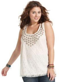 American Rag Top, Sleeveless Lace Embellished