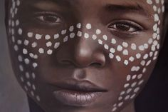 Close up of Surma Boy, Oil on canvas, by Rebekah Codlin - young NZ hyper realism portrait and figurative artist. Carnival Face Paint, Canvas Prints, Oil On Canvas, Artist, Portrait, Figurative Artists, Original Oil