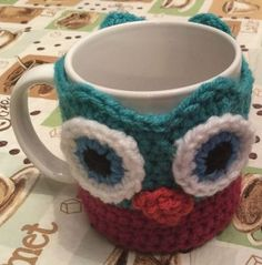 Janus the Owl Coffee Cup Cozy Awake ~ free pattern ᛡ