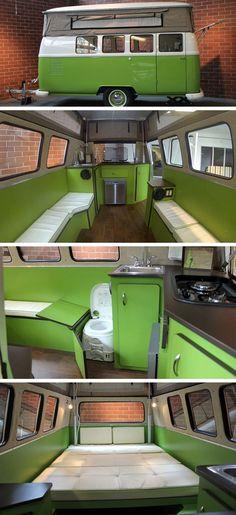 VW Camper Van Trailer - by Dub-Box USA. What a brilliant idea. create a 'Caravan' out of a VW Campervan! Kombi Trailer, Vw T1 Camper, Camper Caravan, Camper Trailers, Combi Vw T2, Combi Ww, Beetles Volkswagen, Volkswagen Bus, Casas Trailer