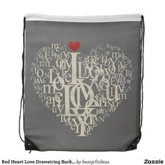 Red Heart Love Drawstring Backpack