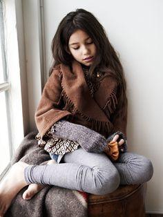 cute pretty girl kid kids brown long hair style fashion neutral colors colours jeans blue grey legging pants print blouse shirt tshirt kimono fringe youth teen