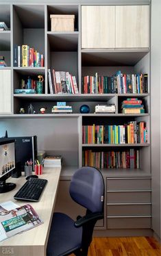 You won't mind getting work done with a home office like one of these. See these 20 inspiring photos for the best decorating and office design ideas for your home office, office furniture, home office ideas Home Office Storage, Home Office Space, Office Workspace, Home Office Decor, Office Furniture, Home Decor, Office Ideas, Men Office, Office Shelf