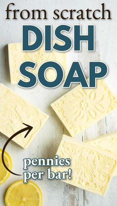 A simple recipe for cold process bar dish soap that gets your dishes sparkling clean. Add lemon fragrance for a fresh scent. #coldprocesssoaprecipes Homemade Bar, Dishwashing Liquid, Sparkling Clean, Goat Milk Soap, Living At Home, Soap Recipes, Home Made Soap, Handmade Soaps, Soap Making