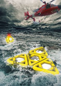 Life Triangle is a life raft featuring a multi-directional triangular shape so that it doesn't capsize easily. Apparently the triangular structure prevents the raft from turning Disaster Designs, Water Rescue, Search And Rescue, Cool Inventions, Emergency Vehicles, Tecno, Camping Survival, Boat Building, Rafting
