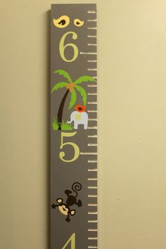 Wooden Growth Chart  Jungle Theme  Animal by RememberedOnceMore