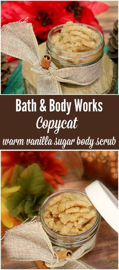 If you like the popular Bath and Body Works scent, you will love this copycat warm vanilla sugar body scrub! Inexpensive, easy and perfect for fall!