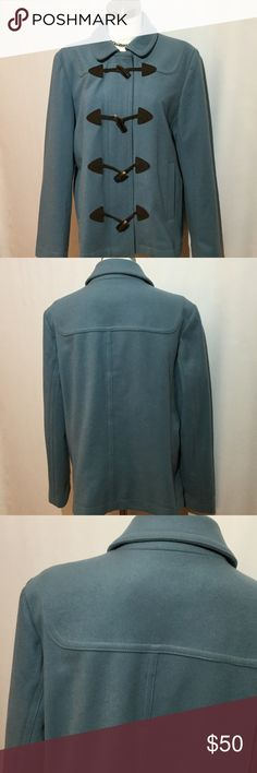 Gap Pea Coat blue toggle / zipper Gap blue pea coat with hidden zipper and toggle front closure. Comfy, roomy. Great over sweaters. Warm wool blend. Size Large. Excellent condition. Blue a muted blue green color. GAP Jackets & Coats Pea Coats