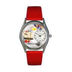 Whimsical Watches Quilting Red Leather And Silvertone Watch