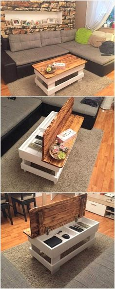 Журнальный стол с системой хранения вещей. #pallet
