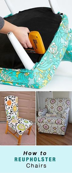 How to Reupholster Chairs • From old dining chair seats all the way up to the big club chair in your family room, use these tutorials to learn how to reupholster a chair and make it new again! Even a tutorial on recovering a wing back chair! #HowtoReupholsteraChair #DIYReupholsterChair #ReupholsterChair #ReupholsterStepbyStep Easy Diy Projects, Wood Projects, Plywood Storage, Patchwork Chair, Pinterest Crafts, Old Chairs, Ikea Chairs, Upholstered Chairs, Dining Chairs