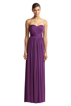 The Sophia is a long strapless maracaine jersey bridesmaid dress with draped bodice and sweetheart neckline. Available colors: Blush, Midnight, Concord, Black, Claret, Ocean Blue, Monument, African Violet | Rent on vowtobechic.com
