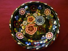 ":D Mexican Folk Art Michoacan Batea Wooden Bowl Multicolor Flower Black Large 15"""