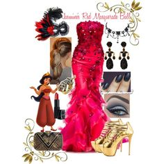 """Jasmine's Red Masquerade Ball"" by xuanniediamond on Polyvore"