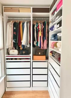 How I Organize My Closet – Maximize Small Space – Stefana Silber How I organize my closet using IKEA Pax and make efficient use of small space. Find out a neat trick for rolling clothes in a drawer for visibility and easy access. Walk In Closet Ikea, Ikea Closet Hack, Ikea Pax Wardrobe, Closet Hacks, Closet Bedroom, Closet Ideas, Small Walk In Wardrobe, Ikea Pax Hack, Ikea Bedroom