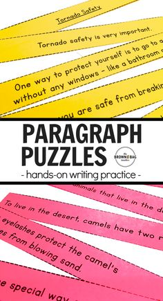 Learning to structure writing is a critical skill for and grade writers. These paragraph puzzles were created has a hands-on way to help students internalize how writers organize their ideas in different contexts. Paragraph Writing Worksheets, Expository Writing, Writing Lessons, Teaching Writing, Writing Practice, Writing Activities, English Activities, Writing Resources, Educational Activities