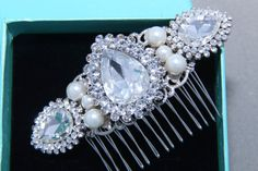 Bridal Hair Comb Wedding Hair Comb Pearl Rhinestone by BlingGarden