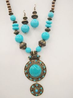 Fashion Vintage Bohemian Turquoise Blue Pendant Wood Bead Necklace Earring Set