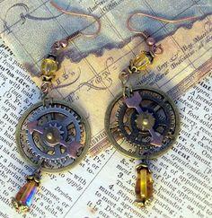 Steampunk gear earrings. $18.00, via Etsy.