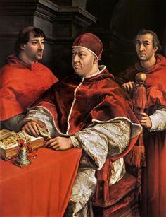 Pope Leo X with Cardinals Giulio de' Medici and Luigi de' Rossi - Raphael Sanzio