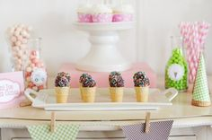 ♥ Easy And Inexpensive Mini Ice Cream Cone Dessert Table  | Party Id