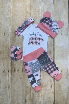 Newborn Gift Baby Shower Gift Personalized Name Newborn Gift Girl Pink and Black Buffalo Check Plaid Infant Burp Cloth and Bib Set