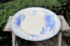 Large Antique French round dish Choisy le Roi by LaBourgognedeNath