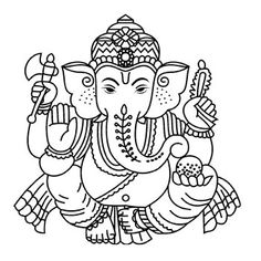 Ganesha Drawing, Lord Ganesha Paintings, Ganesha Art, Ganpati Drawing, Shiva Art, Krishna Art, Outline Drawings, Art Drawings, Diwali Painting