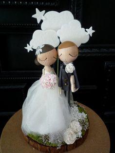 Wedding Cake Topper with Custom Wedding Dress by MilkTeabyBthanari, $215.00
