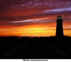 Lighthouse at sunset, Peggy's Cove, Nova Scotia