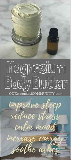 homemade magnesium body butter {with essential oils} to improve sleep, reduce stress, calm mood, increase energy, and soothe cramps & aches (body spa young living) Essential Oil Uses, Doterra Essential Oils, Young Living Essential Oils, Homemade Essential Oils, Homemade Body Butter, Homemade Body Lotion, Homemade Coconut Oil, Homemade Deodorant, Homemade Scrub