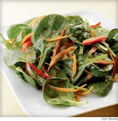 Spinach Salad with Japanese Ginger Dressing - Inspired by the iceberg salads served at Japanese steakhouses across the U.S. http://on.webmd.com/Q2ypMj