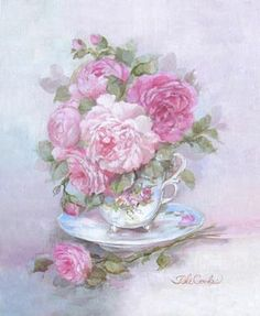 42310329769 Teacup Bouquet Canvas Giclee Print by Debi Coules French Chic