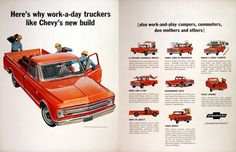 1967 Chevrolet Half Ton Pickup Sport Truck original vintage advertisement. Makes a great camper, rides like a car, discourages rust, stays strong and saves money.