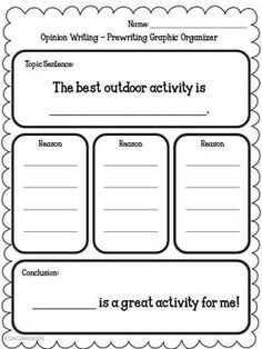 Opinion Writing - With this fun writing unit students will write about what they think is the best fruit and the best outdoor activity. This writing packet would be great to teach along with a health and nutrition unit. Meets Common Core Standards for 1st/2nd grades.