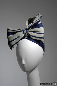 Darling navy and pale green striped straw turban Designer: Lilly Daché (French, 1893 – Medium: Straw Date: The Museum at Fashion Institute of Technology (FIT) 1930s Fashion, Vintage Fashion, French Fashion, Caroline Reboux, Vintage Accessories, Hair Accessories, 1930s Hats, Millinery Hats, Love Hat