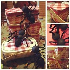 I made these ants w foam balls, black paint and pipe cleaners. They are picnic decorations for our Family picnic on Aug 4, 2012. The baskets have snickerdoodles inside. :)