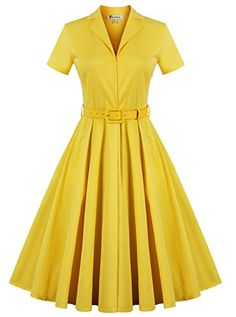 Women's Style Short Sleeve Rockabilly Pinup Elegant Vintage Cocktail Party Dress Yellow X-Large - Party Dresses and Party Outfits Trendy Dresses, Sexy Dresses, Short Sleeve Dresses, Dresses Elegant, Party Dresses, Dress Party, Vintage Outfits, Vintage Dresses, Style Rockabilly