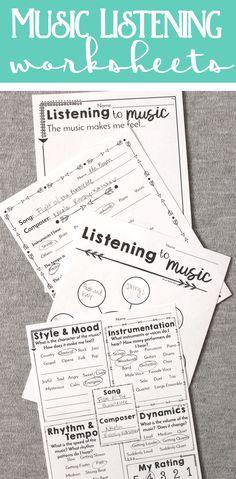 Awesome music listening worksheets for all grades kindergarten through high school! #violinlessonsforkids