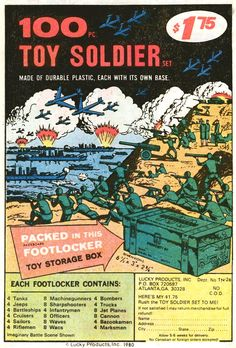 '100-pc Toy Soldier Set, Made of Durable Plastic, Each With Its Own Base. Packed in this Footlocker. $1.75' - 1980 Lucky Products, Inc. ad